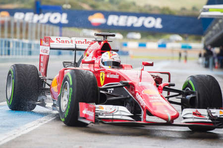 vettel: JEREZ DE LA FRONTERA, SPAIN - FEBRUARY 02: Sebastian Vettel, pilot of the team Ferrari in test Formula 1 in Circuito de Jerez on feb 02, 2015 in Jerez de la frontera.