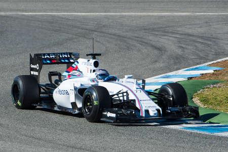 jerez de la frontera: JEREZ DE LA FRONTERA, SPAIN - FEBRUARY 01:  Valtteri Bottas, pilot of the team Williams in test Formula 1 in Circuito de Jerez on feb 01, 2015 in Jerez de la frontera Editorial