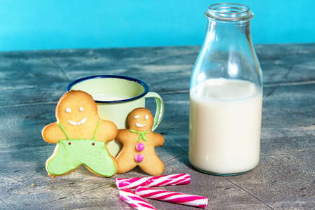 gingerbread cookies: Gingerbread cookies and milk with blue background