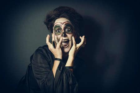 bruja: Retrato del perro disfrazado para Halloween