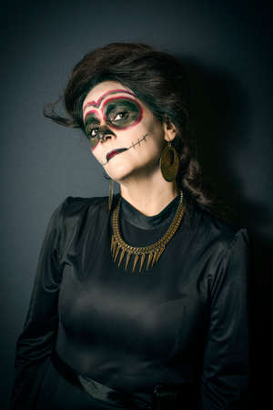 disguised: Portrait of woman in disguise for Halloween Stock Photo