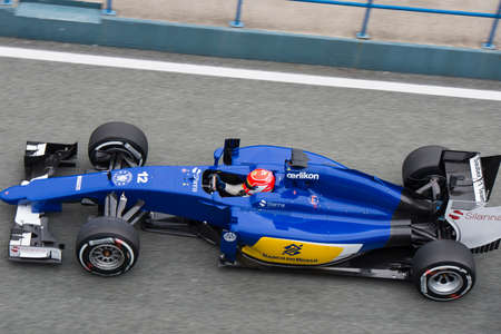 sauber: JEREZ DE LA FRONTERA, SPAIN - FEBRUARY 02: Felipe Nasr, pilot of the team  Sauber, in test Formula 1 in Circuito de Jerez on feb 02, 2015 in Jerez de la frontera. Editorial
