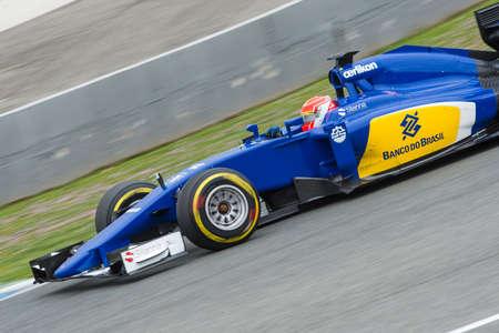 sauber: JEREZ DE LA FRONTERA, SPAIN - FEBRUARY 02: Felipe Nasr, pilot of the team  Sauber, in test Formula 1 in Circuito de Jerez on feb 01, 2015 in Jerez de la frontera. Editorial