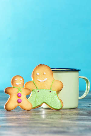 gingerbread cookies: Gingerbread cookies with blue background