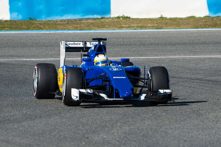 JEREZ DE LA FRONTERA, SPAIN - FEBRUARY 01:  Marcus Ericsson, pilot of the team Sauber in test Formula 1 in Circuito de Jerez on feb 01, 2015 in Jerez de la frontera