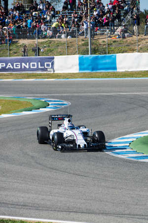 jerez de la frontera: JEREZ DE LA FRONTERA, SPAIN - FEBRUARY 01:  Valtteri Bottas, pilot of the team Williams in test Formula 1 in Circuito de Jerez on feb 01, 2015 in Jerez de la frontera Editorial