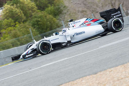 jerez de la frontera: JEREZ DE LA FRONTERA, SPAIN - FEBRUARY 02: Valtteri Bottas, pilot of the team Williams Martini in test Formula 1 in Circuito de Jerez on feb 02, 2015 in Jerez de la frontera.