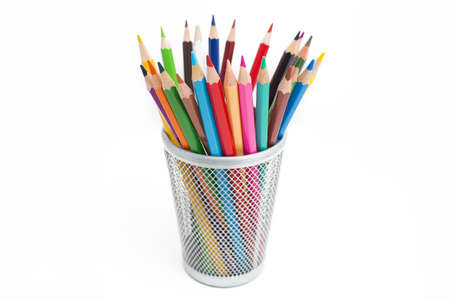 colored school: Colored pencils in a pencil case on white background