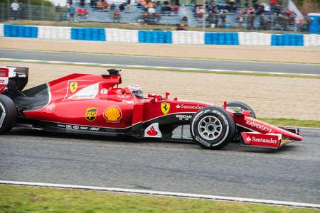 jerez de la frontera: JEREZ DE LA FRONTERA, SPAIN - FEBRUARY 03: Kimi Raikkonen pilot of the team Ferrari in test Formula 1 in Circuito de Jerez on feb 03, 2015 in Jerez de la frontera.
