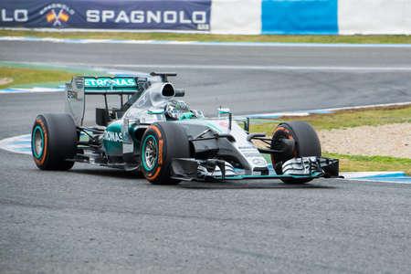 jerez de la frontera: JEREZ DE LA FRONTERA, SPAIN - FEBRUARY 03: Nico Rosberg, pilot of the team Mercedes in test Formula 1 in Circuito de Jerez on feb 03, 2015 in Jerez de la frontera. Editorial