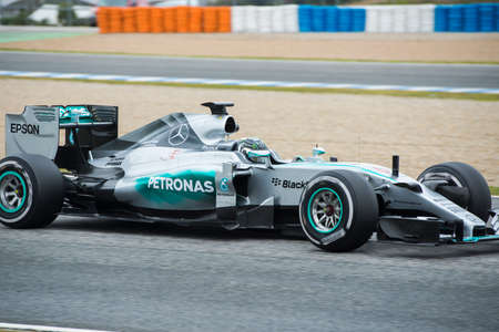 jerez de la frontera: JEREZ DE LA FRONTERA, SPAIN - FEBRUARY 03: Nico Rosberg, pilot of the team Mercedes in test Formula 1 in Circuito de Jerez on feb 03, 2015 in Jerez de la frontera. Editorial