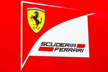 jerez de la frontera: JEREZ DE LA FRONTERA, SPAIN - FEBRUARY 03: Logo of team Ferrari in test Formula 1 in Circuito de Jerez on feb 03, 2015 in Jerez de la frontera.