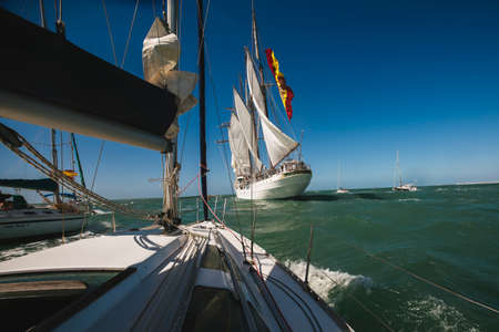cano: CADIZ, SPAIN - MAR 05: Spanish Navy, Juan Sebastian de Elcano begins its 87th training cruise from the port of Cadiz. on March 05 , 2016, in Cadiz , Spain
