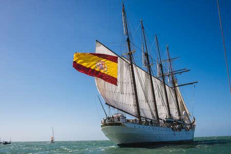 CADIZ, SPAIN - MAR 05: Spanish Navy, Juan Sebastian de Elcano begins its 87th training cruise from the port of Cadiz. on March 05 , 2016, in Cadiz , Spain