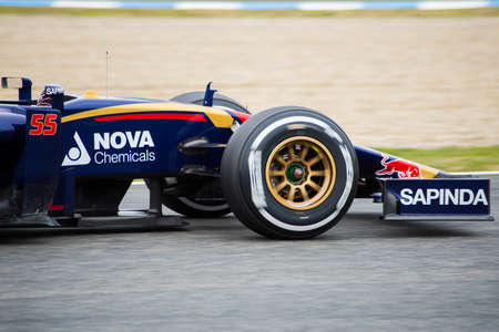jerez de la frontera: JEREZ DE LA FRONTERA, SPAIN - FEBRUARY 03: Carlos Sainz Jr, pilot of the team Toro Rosso in test Formula 1 in Circuito de Jerez on feb 03, 2015 in Jerez de la frontera