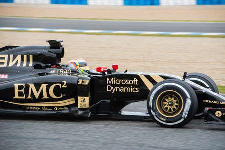 sauber: JEREZ DE LA FRONTERA, SPAIN - FEBRUARY 03: Pastor Maldonado, pilot of the Lotus  Sauber, in test Formula 1 in Circuito de Jerez on feb 03, 2015 in Jerez de la frontera. Editorial