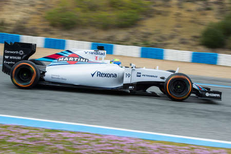 jerez de la frontera: JEREZ DE LA FRONTERA, SPAIN - FEBRUARY 03: Felipe Massa, pilot of the Williams  Sauber, in test Formula 1 in Circuito de Jerez on feb 03, 2015 in Jerez de la frontera.