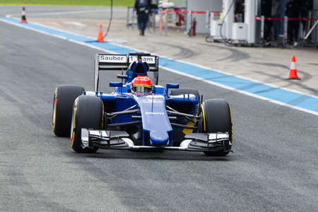 JEREZ DE LA FRONTERA, SPAIN - FEBRUARY 03: Felipe Nasr, pilot of the team  Sauber, in test Formula 1 in Circuito de Jerez on feb 03, 2015 in Jerez de la frontera.