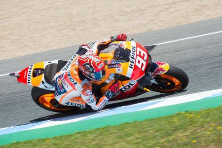 repsol honda: JEREZ DE LA FRONTERA, SPAIN - APRIL 24 :  Marc Marquez, Spanish motoGP rider of Repsol Honda Team in  during race of MotoGP Spain on April 24, 2016 in Jerez de la Frontera.