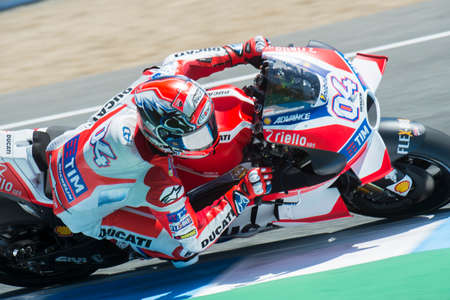 jerez de la frontera: JEREZ DE LA FRONTERA, SPAIN - APRIL 24 :  Andrea Dovizioso Italian motoGP rider of Ducati team in  during race of MotoGP Spain on April 24, 2016 in Jerez de la Frontera.