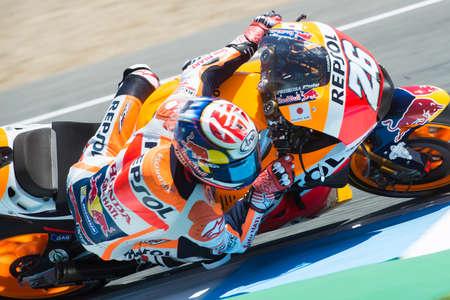 repsol honda: JEREZ DE LA FRONTERA, SPAIN - APRIL 24 : Dani Pedrosa motoGP rider of Repsol Honda Team in  during race of MotoGP Spain on April 24, 2016 in Jerez de la Frontera., Editorial