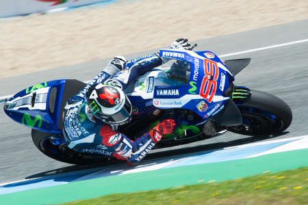 jerez de la frontera: JEREZ DE LA FRONTERA, SPAIN - APRIL 24 : Jorge Lorenzo  motoGP rider of team Movistar Yamaha in  during race of MotoGP Spain on April 24, 2016 in Jerez de la Frontera. Editorial