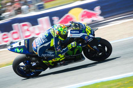jerez de la frontera: JEREZ DE LA FRONTERA, SPAIN - APRIL 24 :  Valentino Rossi, Italian motoGP rider of team Movistar Yamaha in  during race of MotoGP Spain on April 24, 2016 in Jerez de la