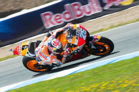 jerez de la frontera: JEREZ DE LA FRONTERA, SPAIN - APRIL 24 : Dani Pedrosa motoGP rider of Repsol Honda Team in  during race of MotoGP Spain on April 24, 2016 in Jerez de la Frontera. Editorial