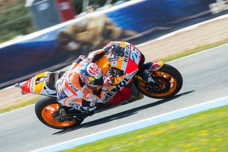 elites: JEREZ DE LA FRONTERA, SPAIN - APRIL 24 : Dani Pedrosa motoGP rider of Repsol Honda Team in  during race of MotoGP Spain on April 24, 2016 in Jerez de la Frontera. Editorial