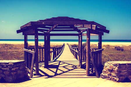 Spain, Andalusia, Cadiz, Tarifa, Beach of Rio Jara in Tarifa. Banque d'images