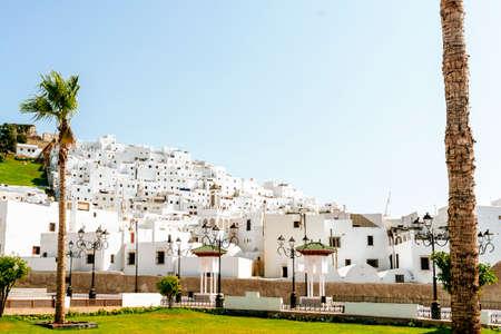 Landscape of white houses in Tetouan, Morocco.