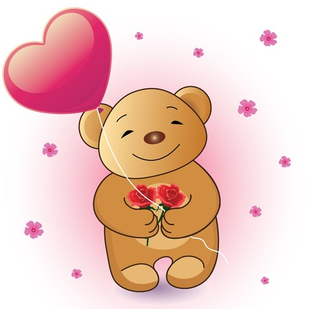 stuffed animals: Romantic Teddy Bear Illustration