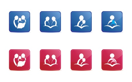 Red and Blue Reading icons Vector