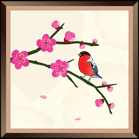 Classical Cherry Blossom Painting Vectores