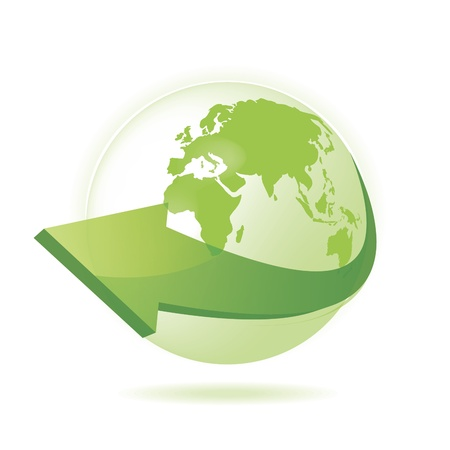 the natural world: Green Globe Illustration