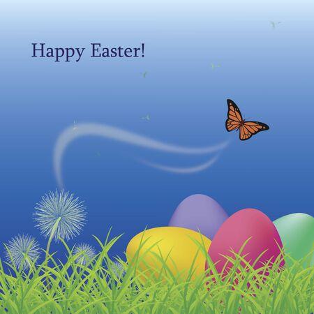 springtime: Happy Easter Greeting Card  Illustration