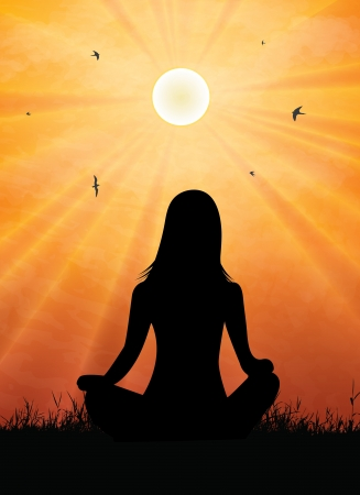 yoga sunset: Woman meditating at outdoors Illustration
