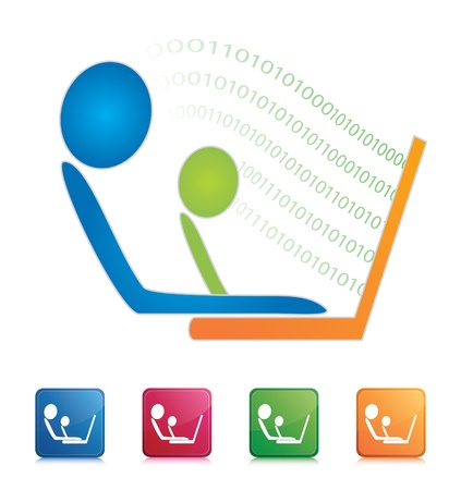 adults learning: Learning Computer Icon
