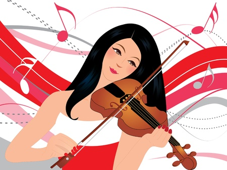 Young Woman Playing Violin Vector
