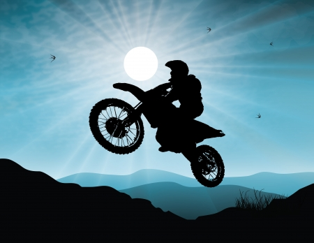 motocross riders: Motorsport in sunset background Illustration