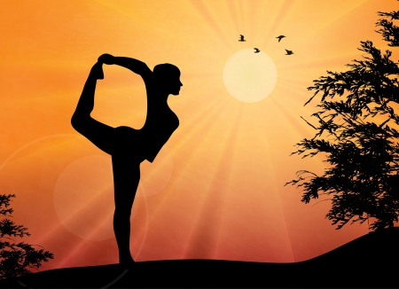 yoga sunset: Woman practicing yoga at outdoor