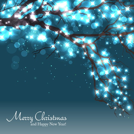 happy new year text: Winter tree background with a space for text