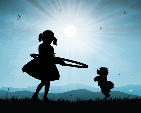 Little girl playing  hoop in sunset background Vector