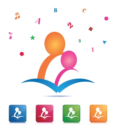 Reading Together Icon Vector