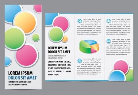 bijsluiter: Tri-fold brochure Layout Design Template illustratie gelaagd voor gemakkelijke manipulatie en tekst wijzigen Stock Illustratie