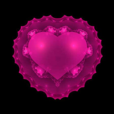 apophysis: Pink Glowing Valentine Heart Fractal  Stock Photo