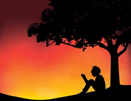 Young girl reading in sunset background vector illustration  Illustration