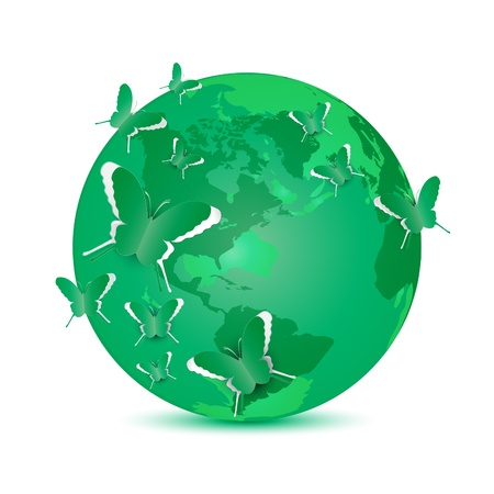 paper cut out: Paper cut out butterfly on green globe vector illustration