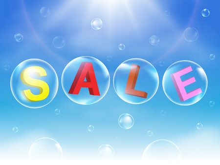floating market: Bubble Sale Sign vector illustration