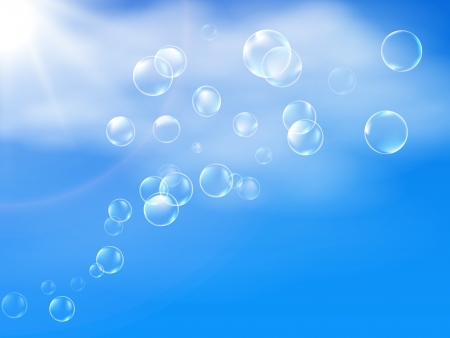 Bubbles in clear blue sky background